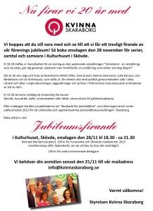 Inbjudan jubileum nov 2012